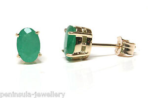 9ct-Gold-Oval-Emerald-Stud-Earrings-Made-in-UK-Gift-Boxed-Studs-Christmas-Gift