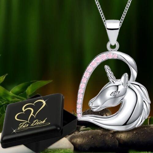 Herz Einhorn Anhänger mit Halskette 925 Echt Sterlingsilber Damen Mädchen Pferd