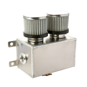 Aluminium-1-2L-Dual-Baffled-Engine-Oil-Catch-Can-2x-AN8-Breather-Filter-Silver