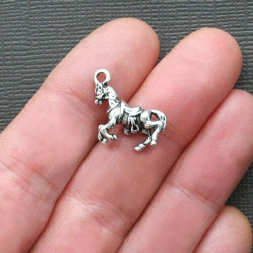 4 Horse Charms Antique Silver Tone 3D Very Detailed SC1032