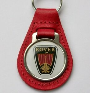 ROVER-ACRYLIC-BADGED-RED-LEATHER-KEYRING