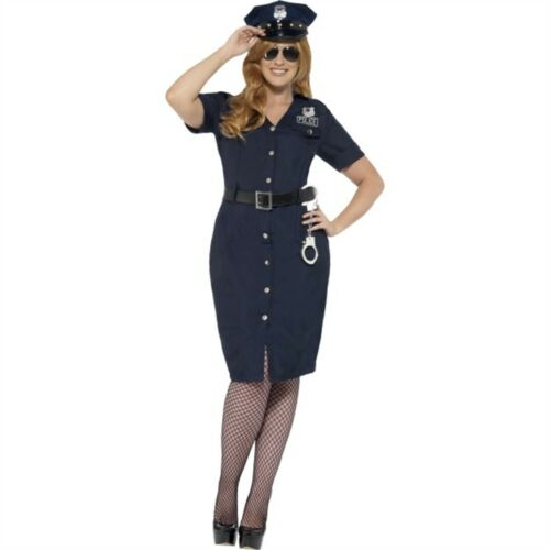 Curves Nyc Cop Costume Blue With Dress Belt And Hat Uk Size 24-26 XXL