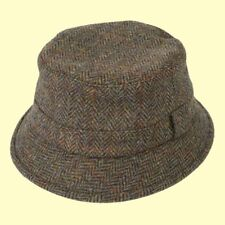 a616b215cc867 Failsworth Harris Tweed Bucket Hat Grouse Hat Fishermans Tweed Hat Brown or  Blue