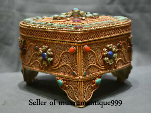 19CM Old Tibet Filigree Gilt Turquoise Jewel Religion heart-shaped jewelry Box