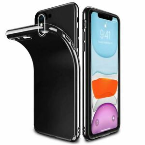 Ultra-Thin-Case-Apple-iPhone-10-X-8-7-6s-5s-Shockproof-Jelly-TPU-Jet-Black-Cover