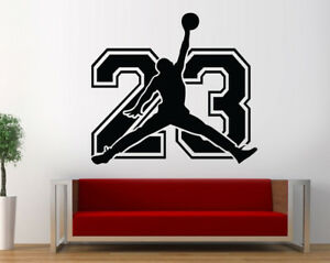 Image Is Loading Michael Jordan 23 Wall Decal Basketball Bedroom Jordan