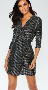 2d97e3601b6c0 Image is loading Quiz-Black-Silver-Sequin-Dress-Uk-8