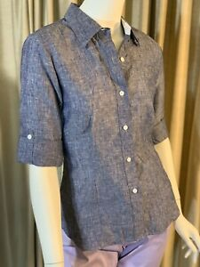 Foxcroft-Women-Gray-Collar-Button-Up-Cuffed-Blouse-Shirt-Top-100-Linen-L-NWT