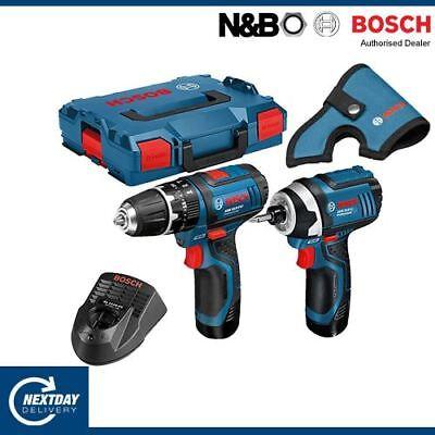 Bosch 12V GSB + 12V GDR Impact Driver Drill Kit 2 x 2.0Ah in L-BOXX - 06019B697