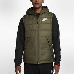 aaa679005 NWT MEN'S NIKE OLIVE HOODED VEST GILET EVODOWN SIZE LARGE FAST ...