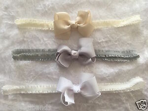 Baby Girls Bow Headband Hairband Soft Elastic Band Accessories 3 inch bow + Lot