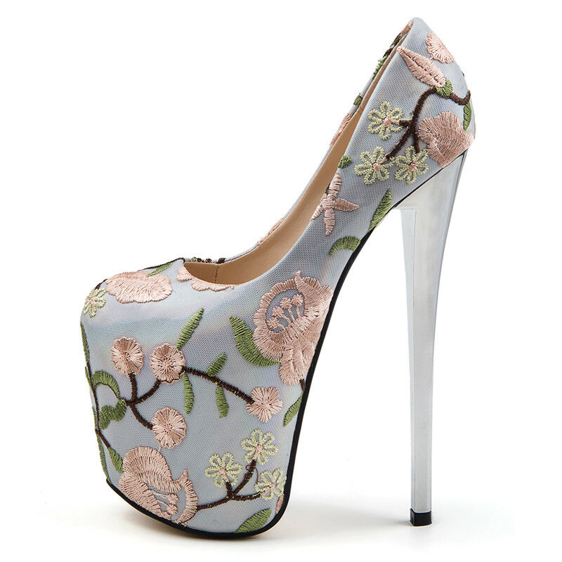 19CM Super Bordado Floral Para Mujer De De De Taco Alto Puntera rojoonda Zapatos Stiletto Fiesta  alta calidad general