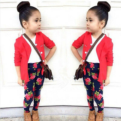 1-7 Year Baby Girl Kids Coat + T-shirt + Floral Pants 3pcs Outfit Sets Clothing