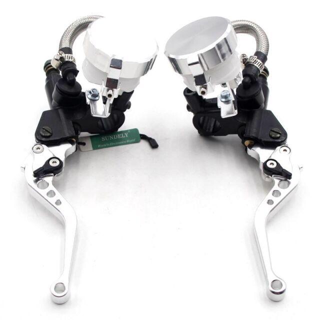 7/8'' Motorcycle Bike Brake Clutch Master Cylinder Levers Reservoir Silver 14mm