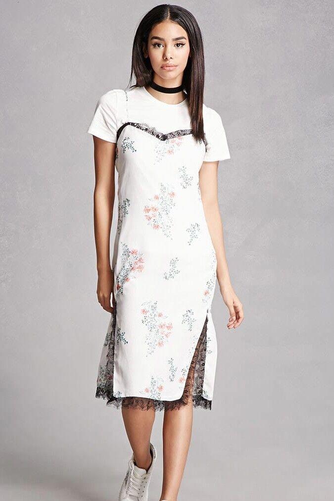 English factory forever 21 T shirt slip dress floral lace fashion L medium 6 8