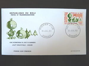 MALI-122-PREMIER-JOUR-FDC-JOUET-NUREMBERG-CANARD-15F-1969