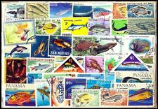FISHES & Marine Life-180 Different Large-Whale-Shark-World Wide Foreign Stamps