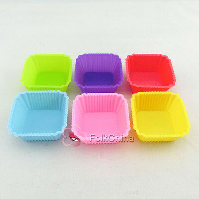 FC13-Silicone 7cm Cube Shape Cup Cake Baking Muffin Mould Cupcake Case DIY