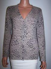 Saks Fifth Avenue Women's  Cardigan Sweater Size Med Leopard Print 100% Cashmere