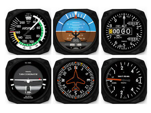 Details about 6 Piece Aircraft Six-Pack Instruments - Coaster Set by  Trintec - 9085