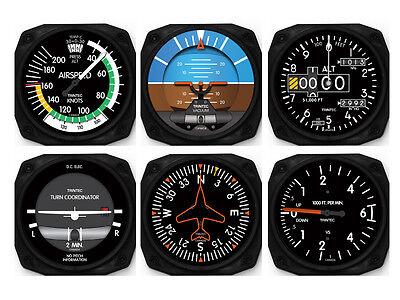 6 Piece Aircraft Six-Pack Instruments - Coaster Set by Trintec - 9085