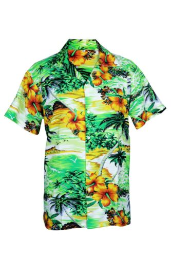 Homme Chemise Hawaïenne Stag Plage Hawaii Aloha vacances été fantaisie vert Cliff