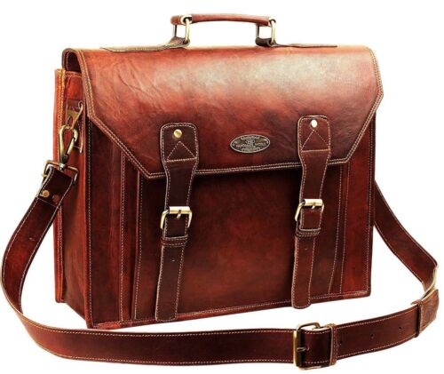 Men/'s USA Vintage Leather Messenger Business Laptop Briefcase Bag Free Shipping