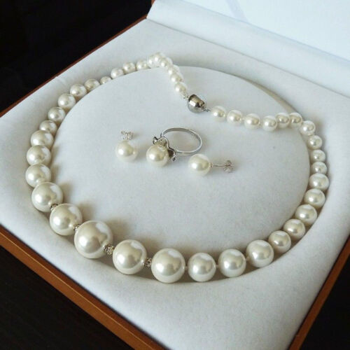 Genuine 8-16 mm South Sea White Shell Pearl Collier Bague Boucle d/'oreille Bijoux Set AAA