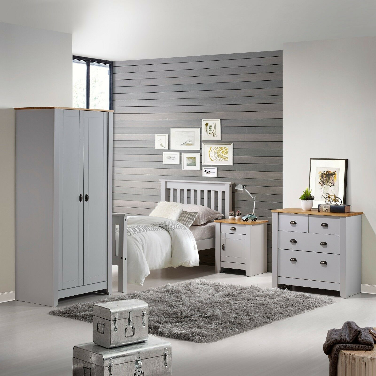 Ludlow Pine Top Grey Bedroom Furniture Bedsides Wardrobes