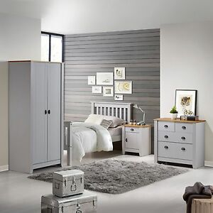 Image Is Loading Ludlow Pine Top Amp Grey Bedroom Furniture Bedsides