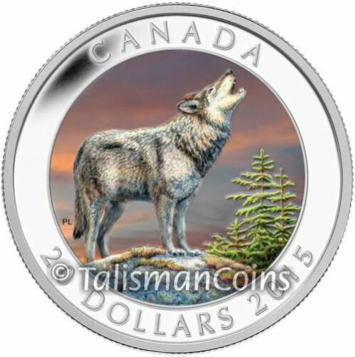 Canada 2015 Howling Wolf $20 1 Oz Pure Silver Color Proof Mintage 7500!