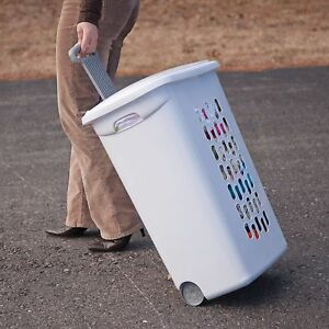 Rolling Clothes Hamper Wheels White Plastic Laundry Lid