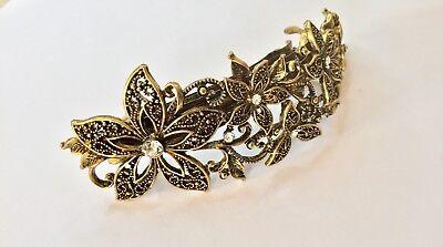 """Inventivo """"uk"""" Senza Tempo Vintage Gold Per Capelli Clip Barrette Antico Dorati Fiore Di Cristallo-mostra Il Titolo Originale"""