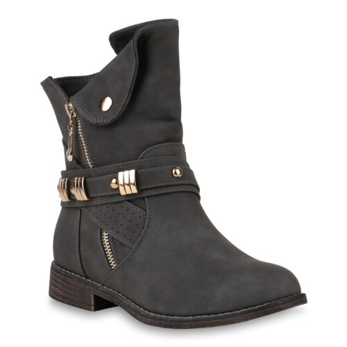 Damen Stiefeletten Schuhe Biker Boots Zipper Nieten 818835 Trendy Neu