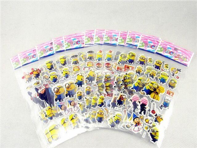 Kids Favorite Despicable Me Minions Children Stereoscopic Stickers Lot Of 12