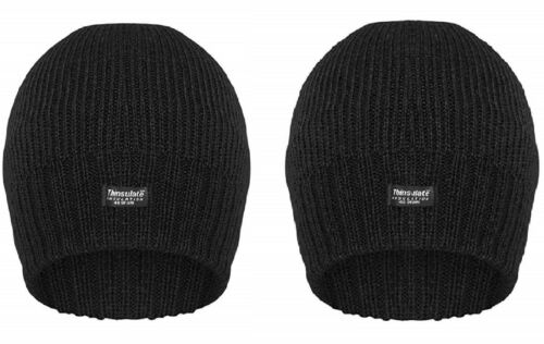 Mens Black Thinsulate 3M Beanie Hat Insulated Warm Ladies Winter Waterproof Cap