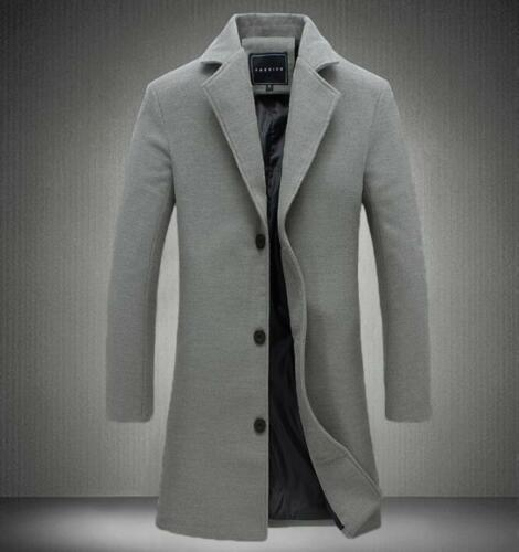 Chic Stylish Mens Wool Blend Overcoat Slim Fit Long Trench Coat Business Coats