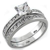 .925 Sterling Silver Wedding Promise Princess Square Cz Rings Band Guard Set