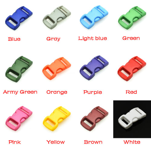 "12pcs 3//8/"" Colorful Contoured Side Release Buckles For Paracord Bracelet 10mm"