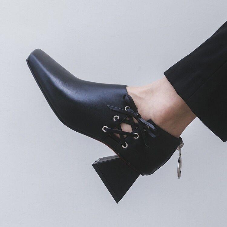 donna Mid Heels Square Toe Slip On Oxfords Solid Chunky Fashion scarpe Work Sz