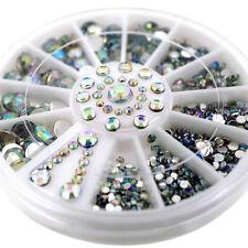 300PCS DIY Nail Art Tips Charm Gems Crystal Glitter Rhinestones 3D Decor Wheel