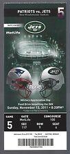 2011 NFL NEW ENGLAND PATRIOTS @ NEW YORK JETS FULL UNUSED FOOTBALL TICKET
