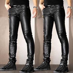 Punk Rock Mens PU Leather Motorcycle Slim Fit Pants Casual Trousers Pants Sz