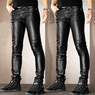 Black Men/'s Casual Slim Skinny warm PU Leather Trousers Motorcycle Biker Pants