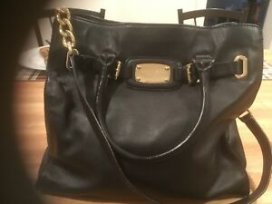 Details about Michael Kors Hamilton Leather Tote Bag with Gold Chain Black