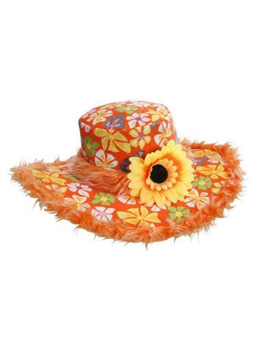 70s Hut mit Blume und Plüsch Flower Power Accessoires Party