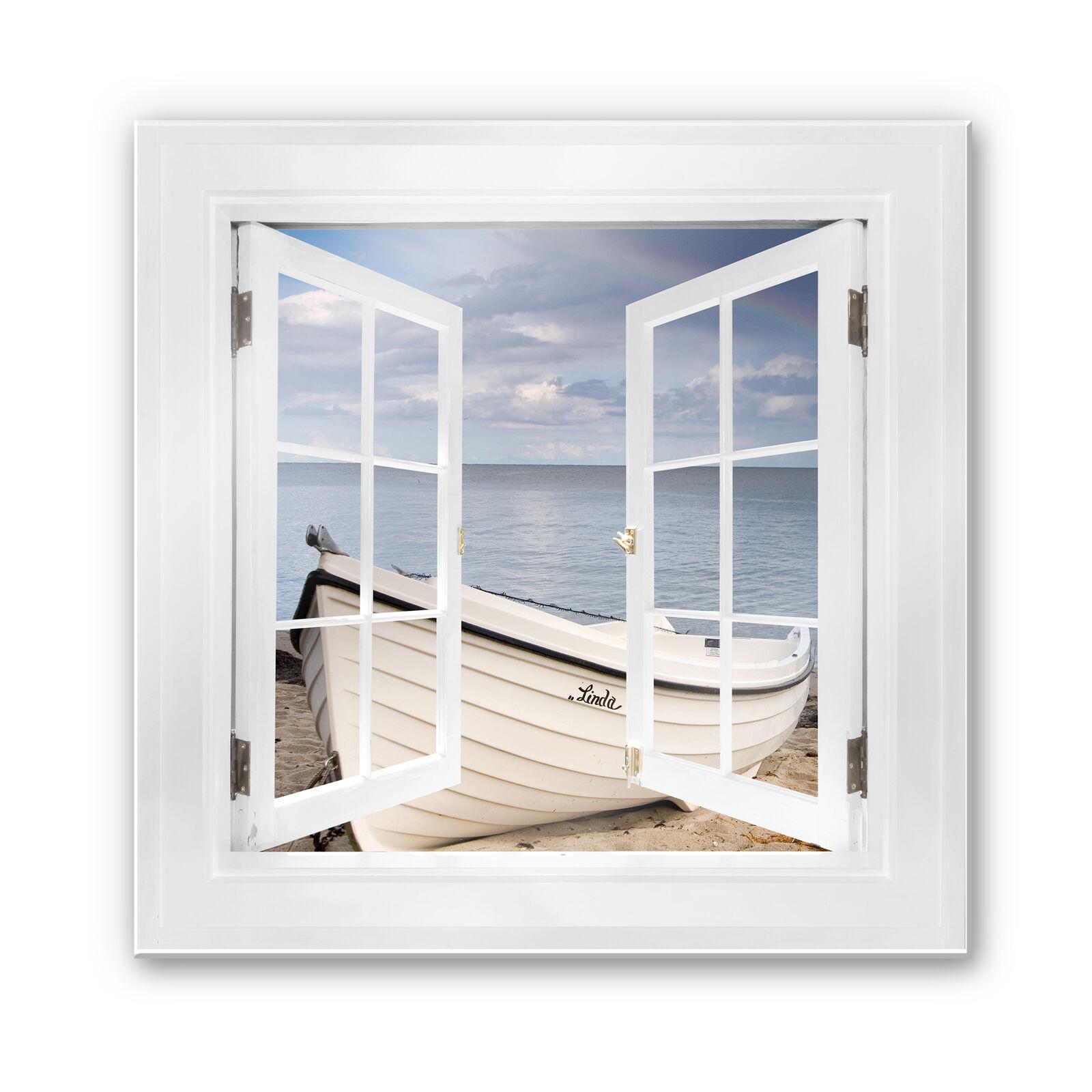 Immagine di vetro finestra 3d quadrato-Spiaggia IDYLL - 50x50 cm sbalorditivo reale decorazione