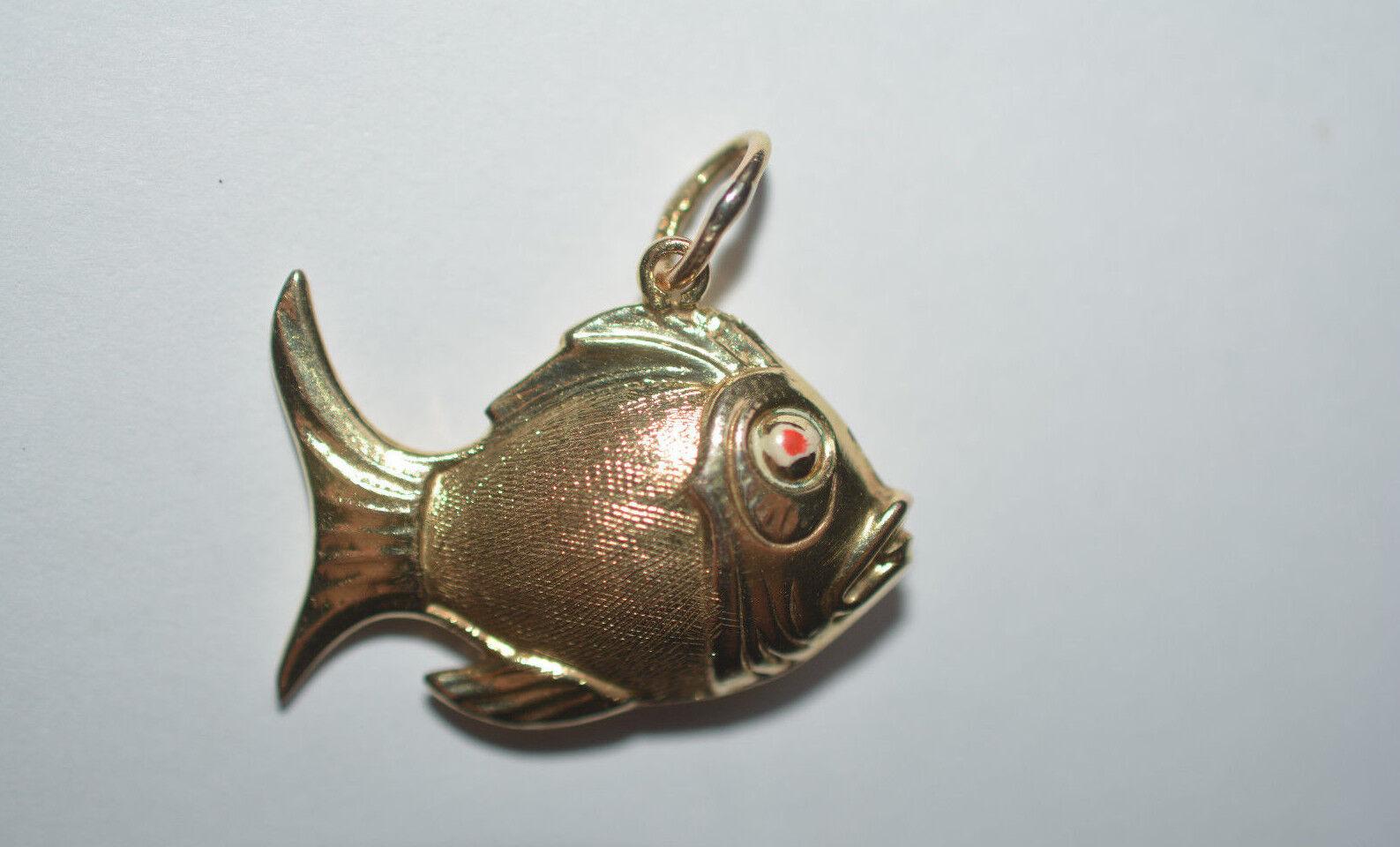 goldener Fisch Anhänger 333er gold 8C gold charms fish or poisson pesce pescado