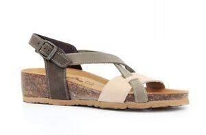 BIONATURA 12 A 826 IMB NABUK sandali donna zeppa ciabatte zoccoli pelle camoscio