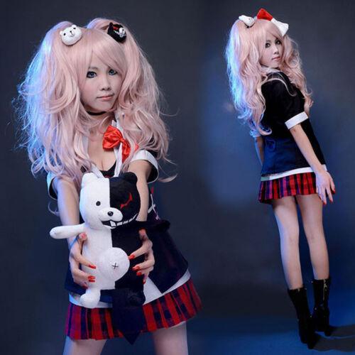 Cute Junko Enoshima Cosplay Costume Polyester Uniform Suit Anime Danganronpa Wig